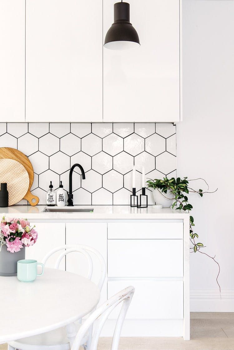 Bee-Hive Tile Backsplash