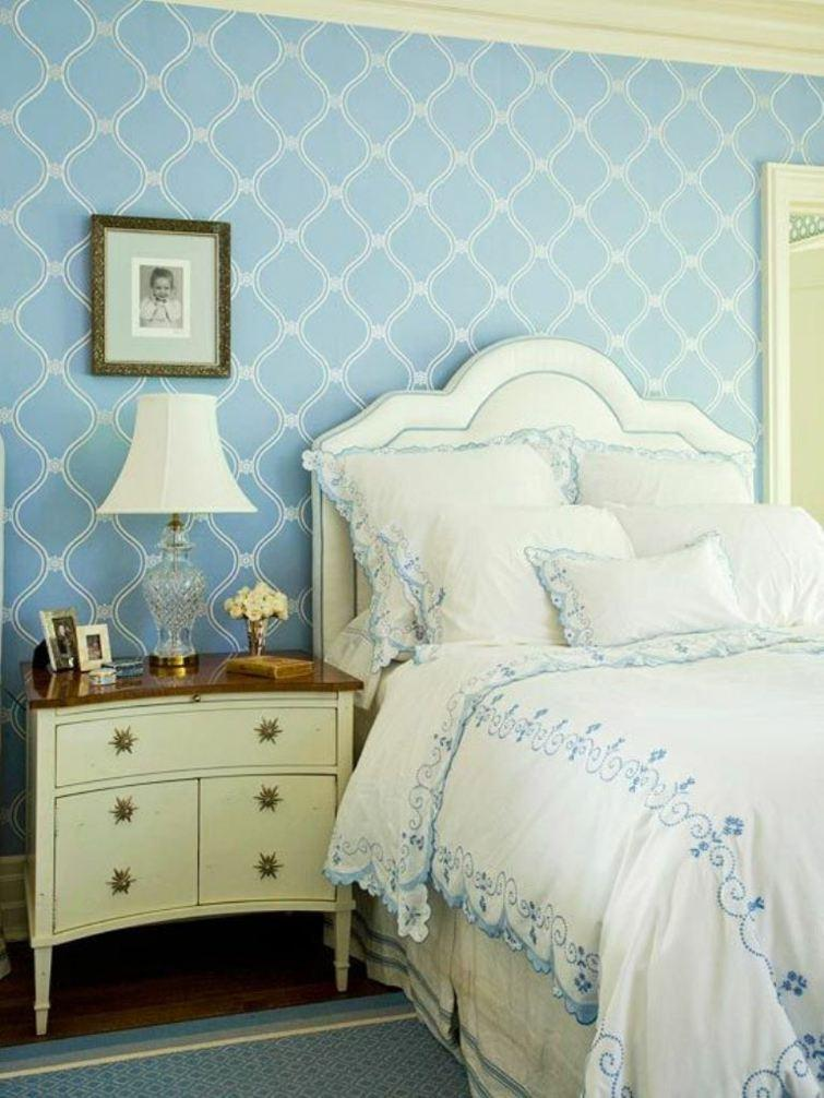 Blue bedroom with vintage design