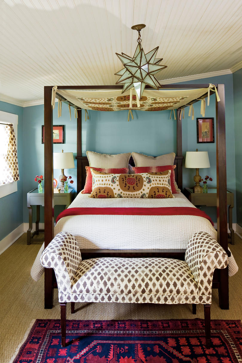Blue bedroom in bohemian style