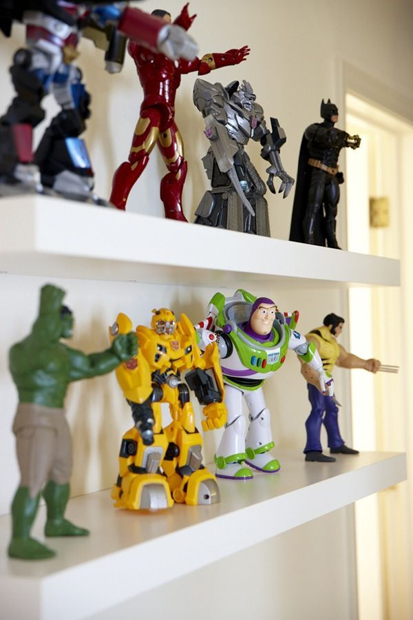 Put action figures as bedroom decoration