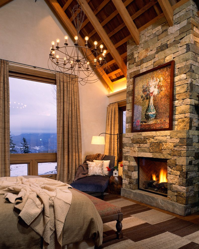 Place stone fireplace in the room