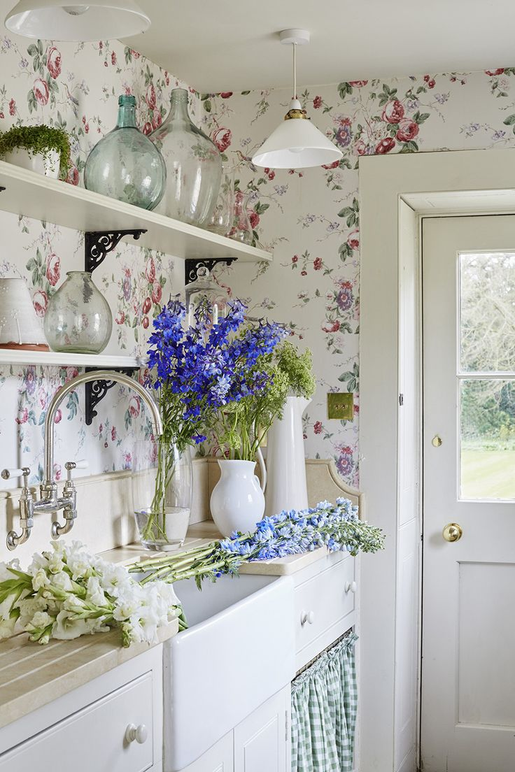 Flowered Wallpaper Kitchen Backsplash