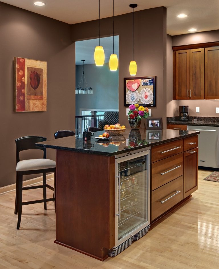 Kitchen Island with Wine Refrigerator - noweiitv