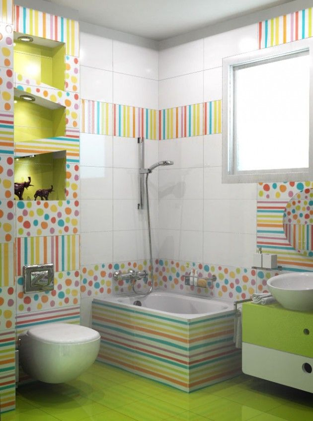 Kids bathroom with signature patterns