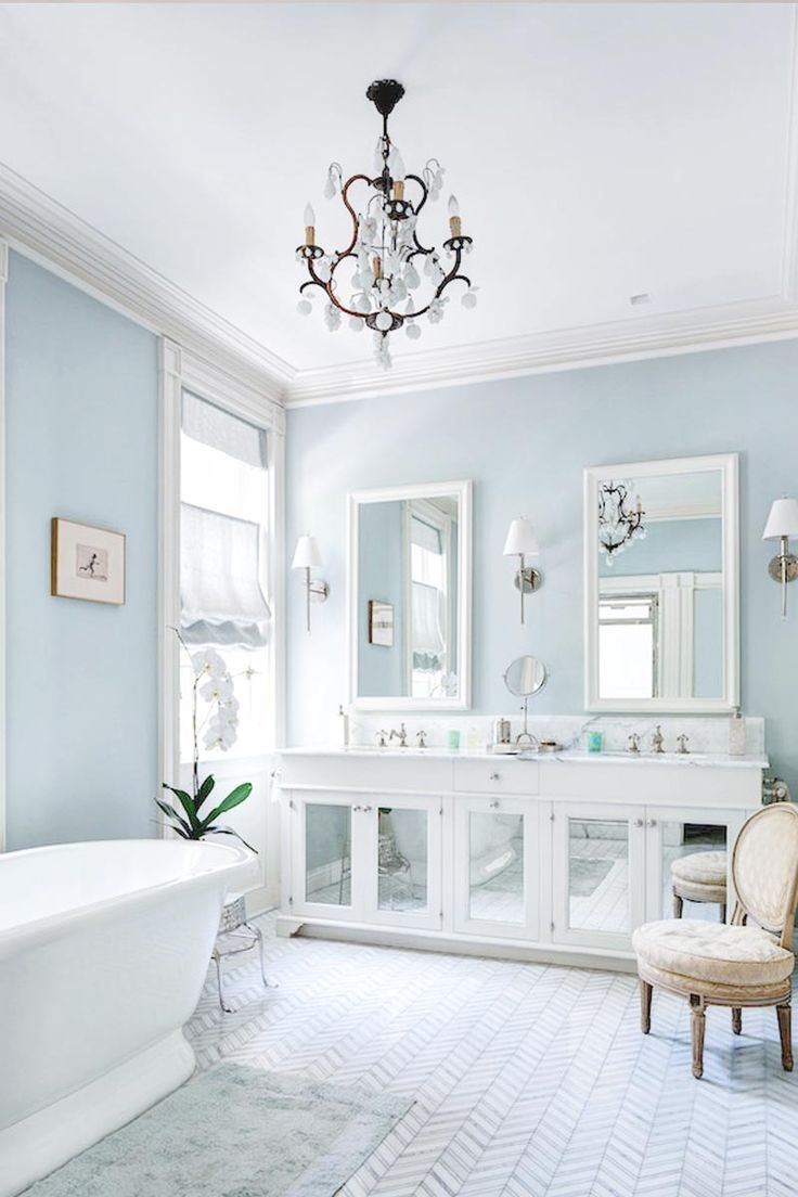 A Sky-Blue Bathroom with Glossy Finish